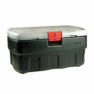 "Attached Lid Container, Black/Red, 20-1/2""H x 43-3/4""L x 17-1/8""W, 1EA"