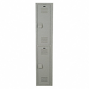 "Gray Wardrobe Locker, (1) Wide, (2) Tier Openings: 2, 15"" W X 18"" D X 72"" H"