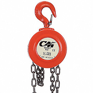 "Low Headroom Chain Hoist, 1000 lb. Load Capacity, 15 ft. Lift, 1-1/16"" Hook Opening"
