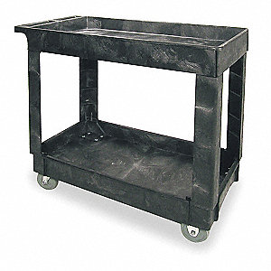"34""L x 16""W Black Utility Cart, 500 lb. Load Capacity, Number of Shelves: 2"