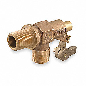 "Bulkhead-Mount Float Valve with Threaded Outlet, 1/4""-20 Rod Thread, Bronze"