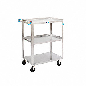 "27-1/2""L x 16-1/4""W x 32-1/8""H Silver Stainless Steel Welded Utility Cart, 300 lb. Load Capacity, Nu"