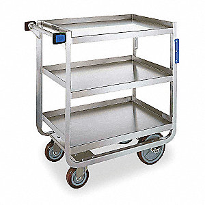 "38-5/8""L x 22-3/8""W x 37-1/8""H Silver Stainless Steel Welded Utility Cart, 700 lb. Load Capacity, Nu"
