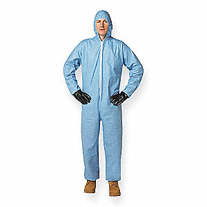 Tempro®, Flame-Resistant Coverall w/Hood, Size: 2XL, Color Family: Blues, Closure Type: Zipper