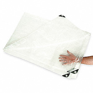 Polyethylene Tarp, Resists UV Rays, Mildew, Tears, 12 x 16 ft. Cut Size, 5.1 mil, Transparent