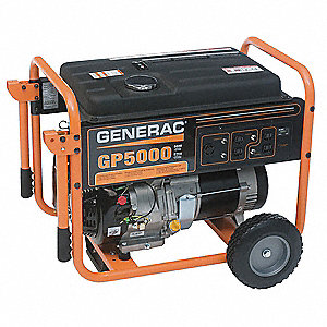 GENERAC Recoil Gasoline Portable Generator, 5000 Rated Watts, 6250
