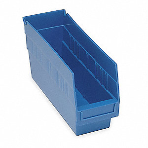 SHELF BIN,W 4 1/8,H 6,D 11 5/8,BLUE