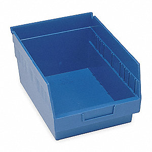 "Shelf Bin, Blue, 6""H x 17-7/8""L x 11-1/8""W, 1EA"