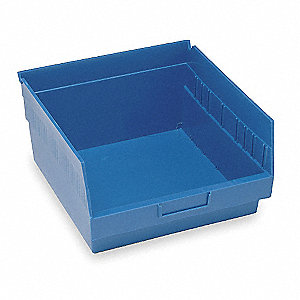 "Shelf Bin, Blue, 6""H x 11-5/8""L x 11-1/8""W, 1EA"