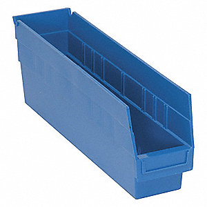 "Shelf Bin, Blue, 17-7/8"" Outside Length, 4-1/8"" Outside Width, 6"" Outside Height"
