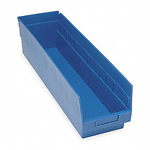 SHELF BIN,W 4 1/8,H 6,D 17 7/8,BLUE