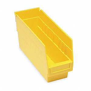 "Shelf Bin, Yellow, 11-5/8"" Outside Length, 4-1/8"" Outside Width, 6"" Outside Height"