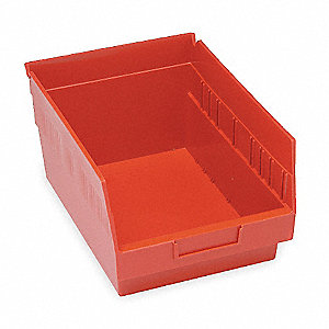 "Shelf Bin, Red, 6""H x 11-5/8""L x 8-3/8""W, 1EA"