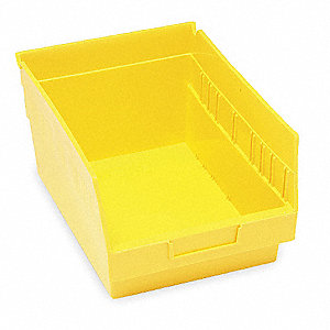 "Shelf Bin, Yellow, 6""H x 11-5/8""L x 8-3/8""W, 1EA"