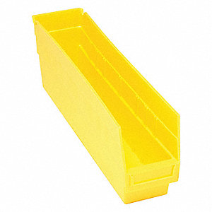 "Shelf Bin, Yellow, 6""H x 17-7/8""L x 4-1/8""W, 1EA"