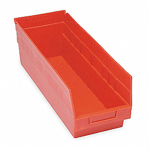 "Shelf Bin, Red, 6""H x 23-5/8""L x 8-3/8""W, 1EA"