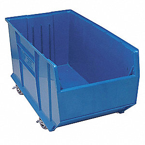 "Mobile Hopper Bin, Blue, 17-1/2""H x 35-7/8""L x 19-7/8""W, 1EA"