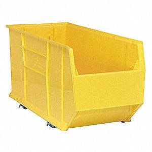Mobile Hopper Bin, Yellow, 17-1/2