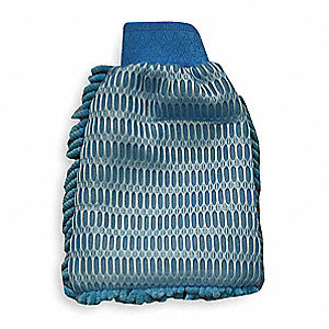 "Blue, Polyester, Polyimide Scrubbing Mitt, Length 11-1/2"", Width 8"", 1 EA"