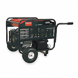 Portable Generator, 120/240VAC Voltage, 6500 Rated Watts, 12,000 Surge Watts, 54.2/27.1 Amps @ 120/2