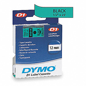 "Indoor/Outdoor Polyester Label Tape Cartridge, Black/Green, 1/2""W x 23 ft."