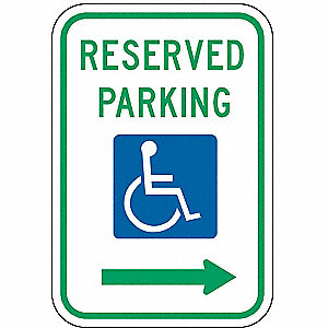 PARKING SIGN,18 X 12IN,GRN AND BL/W