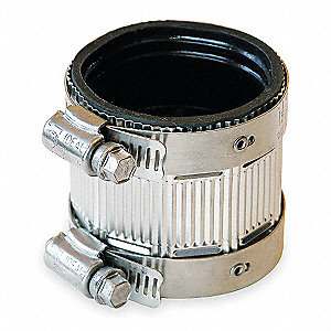"300 Stainless Steel Shield and Neoprene Gasket No Hub Coupling, For Pipe Size 1-1/2"", 1-57/64"" Insid"