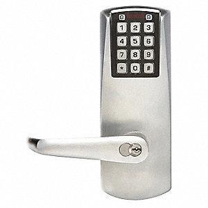 Electronic Keyless Lock, Entry with Key Override, Satin Chrome, Series E2000