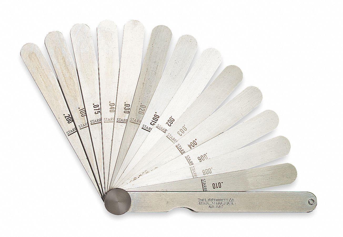 12 Length Starrett 667-18 Steel Thickness Feeler Gage 1//2 Width 0.018 Thickness