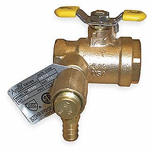 "Bronze FNPT x FNPT x PEX Thermal Expansion Ball Valve, Lever, 3/4"" Pipe Size"