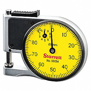 "Continuous Reading Pocket Dial Gage, 2.000"" Dial Size, 0 to 9mm Range"