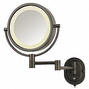 Round Bronze Lighted Makeup Mirror, Direct Hardwire