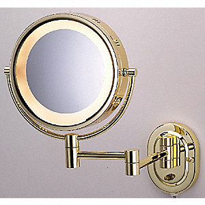 Round Brass Lighted Makeup Mirror, Corded Plugin