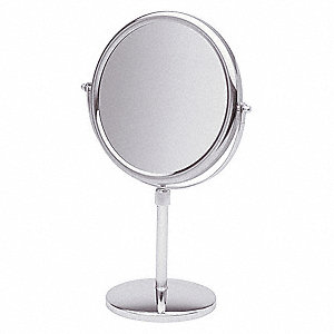 Round Chrome Pedestal Makeup Mirror