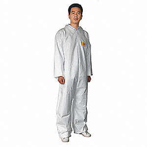 Collared Disposable Coveralls Cuff, White, L, Microporous Polyethylene Film Laminated to a Spunbonde