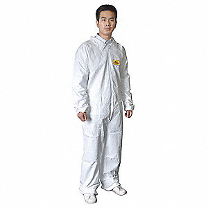 Collared Disposable Coveralls with Elastic Cuff, Microporous Film Laminate Material, White, 2XL