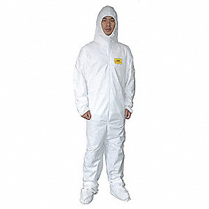 COVERALL DSP MP HOOD/BOOT WT L PK25