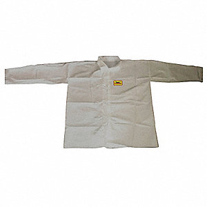 Disposable Shirt,Snap,White,2XL,PK12