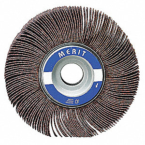 "Coated Ceramic Mounted Flap Wheel, Straight Shank Type, 3/8"" Dia., 3/8"" Face Width,"