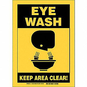 "Keep Clear, Eye Wash, Aluminum, 7"" x 10"", With Mounting Holes, Not Retroreflective"