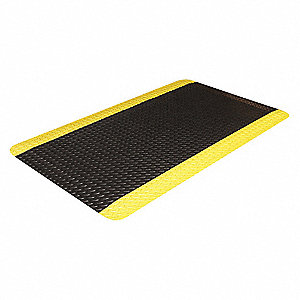 Antifatigue Mat,Black,YllwBrdr,2ft.x3ft.