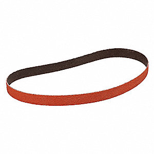 "Sanding Belt, 18"" Length, 3/4"" Width, Ceramic, 36 Grit, Extra Coarse, Coated, 984F, EA1"