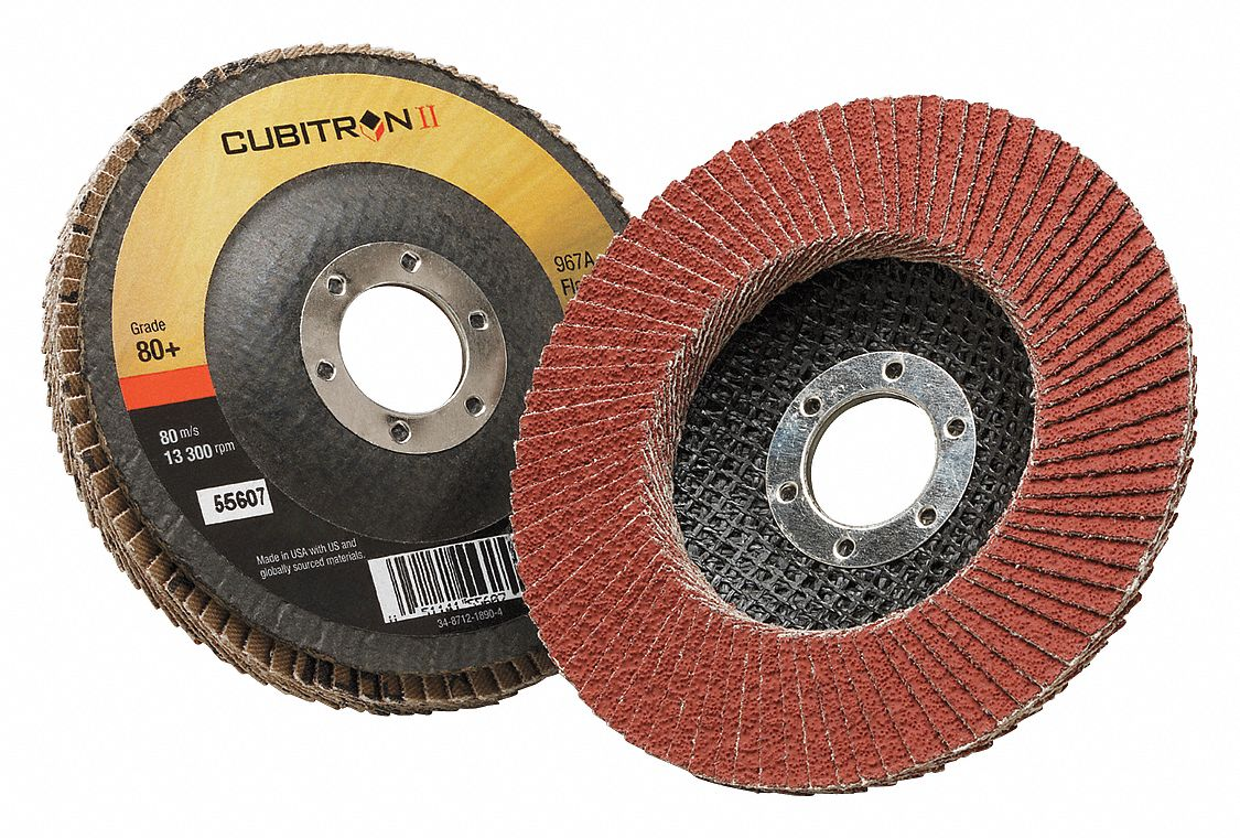 80+ T27 3M™ Cubitron™ II Flap Disc 969F 4-1//2 in x 7//8 in