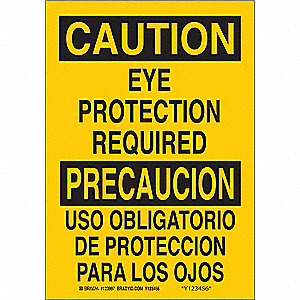 Caution Sign,20 x 14In,BK/YEL,Bilingual