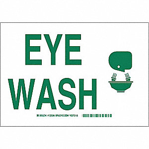 Eye Wash Sign,7x10,Green/White