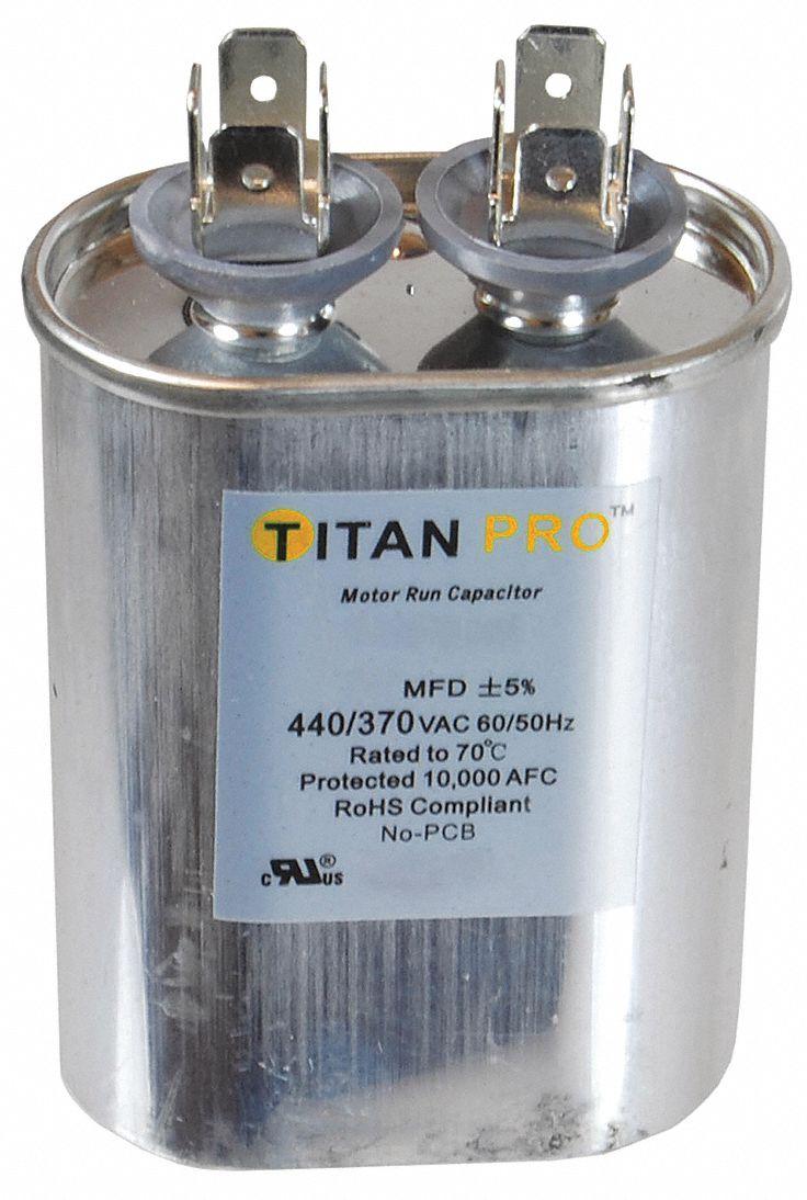 Titan Pro 370 TOC10 Motor Run Capacitors 10 MFD 370 VAC Three Oval NOS 1