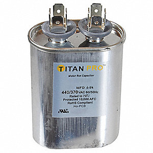 Oval Motor Run Capacitor,15 Microfarad Rating,370-440VAC Voltage
