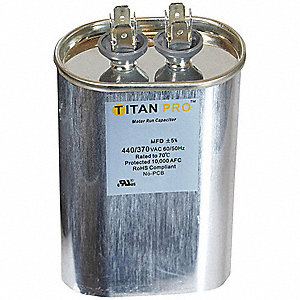 Motor Run Capacitor,60 MFD,4-5/16 In. H