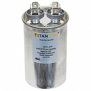 Round Motor Run Capacitor,17.5 Microfarad Rating,370-440VAC Voltage