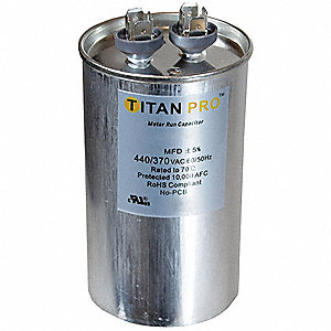 Round Motor Run Capacitor,60 Microfarad Rating,370-440VAC Voltage